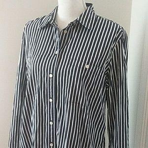 LRL Blue & White Stripe Blouse XL
